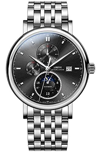 Lobinni Reloj mecánico automático de acero inoxidable de la fase lunar de los hombres de la fecha impermeable relojes de pulsera de cuero, Plata-negro-acero,