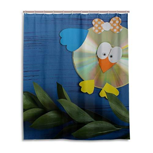GIRLOS Coloridos Efectos de refracción en DVDs Cortina de Ducha de Inodoro Resistente al Agua con 12…