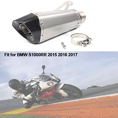 NHJUIJ Motorrad Auspuff Schalldämpfer mit DB Killer, Slip On Auspuff Schalldämpferd, Passt für B-MW S1000RR 2015 2016 2017,Stainless Steel