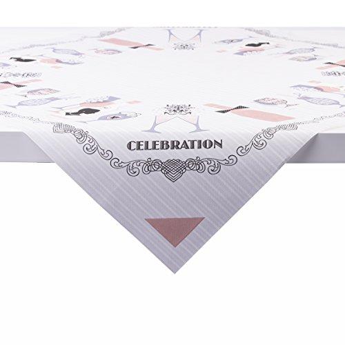 Sovie Home Celebration Linclass® Airlaid Tischdecke 80x80 cm | Mitteldecke stoffähnlich (Grau-Altrosa)