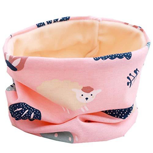 XCLWL sjaal voor mutsen, voor meisjes, warm, voor jongens en meisjes, met sjaal voor sjaal, van katoen, schaap, roze