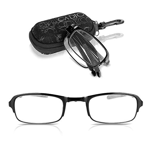 Sonew Faltbare Lesebrille leichte professionelle Falten presbyopische Brille für Mann Frauen schwarz Nylon Zip-Case(2.0)
