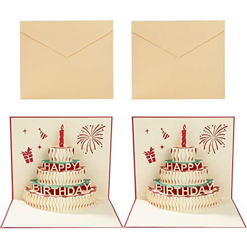 3D Pop-Up Geburtstagskarten Geburtstags-Grußkarten mit Umschlage Papier-Cut Geschenk für Freunde Liebhaber Familie 2 Pack