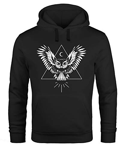 Neverless Hoodie Herren Eule Kapuzen-Pullover schwarz L