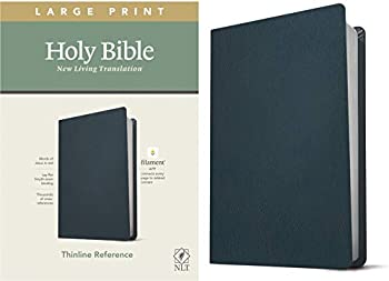 NLT Large Print Thinline Reference Holy Bible  Red Letter Genuine Leather Navy Blue   Includes Free Access to the Filament Bible App Delivering Study Notes Devotionals Worship Music and Video