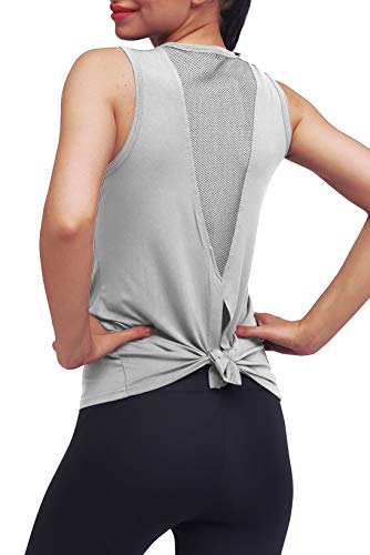Mippo Workout Clothes for Women Sexy Open Back Yoga Tops Mesh Tie Back Muscle Tank Workout Shirts Sleeveless Cute Fitness Active Tank Tops Comfort Sports Gym Clothes Fashion 2020 Gray S