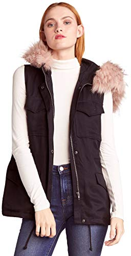 BB Dakota Damen get Your Swagger on Tencel Vest with Removable fur Fellweste, schwarz, X-Klein