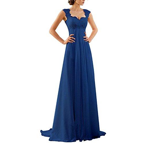 Aiyana A-Linie Chiffon Langes Rueckenfrei Kleid Rueckenfrei Schnuerung Abendkleid Spitze Brautkleid (50, Blau)