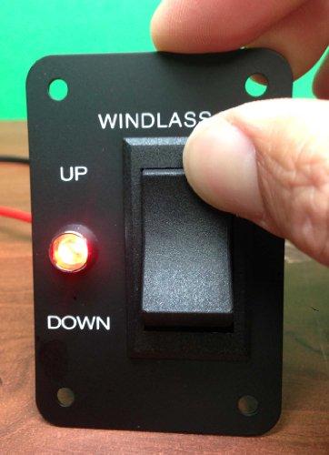 Marine Boat Anchor Windlass Winch Switch Aluminum Plate 2 Way LED Light