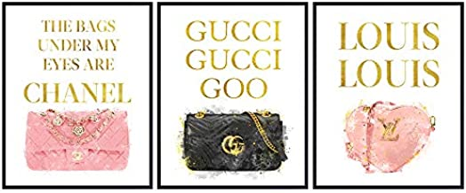 Pictures of Coco, Louis Vuitton, Gucci, LV - Glam High Fashion Design Home Decor of Designer Handbags Purses - Couture Glamour Wall Art For Women, Teens, Girls - Luxury Gift Set, Wall Art Prints