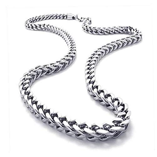 Length 56cm 22 Inch (with Gift Bag),Konov Jewellery Mechanic Style Stainless Steel Mens Necklace Link Chain, Colour Silver Fine Jewelry