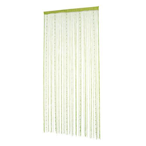 B Blesiya Dekorativer Fadenvorhang mit Perlen Wandvorhang Fadengardine Türvorhang Fenstervorhang 100 x 200 cm - Grün
