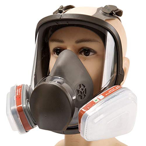 Gas Maske, Mundmaske Atemschutzfilter, Vollgesicht Augenschutz Schutzbrille Für Chemische Handhabung Malerei Schweißen Pollen,Box 1