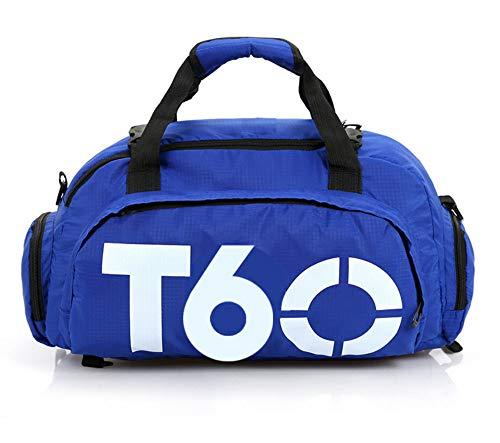 Sporttas voor dames en heren, dubbele rug, schoudertas, yoga-tas met schoenenvak, blauw