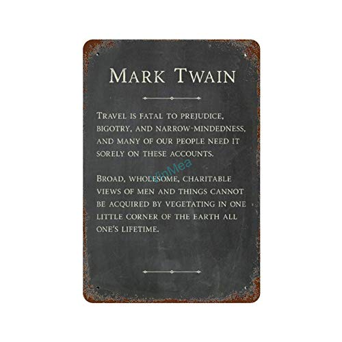 Metal Sign Mark Twain - Travel is Fatal 3 Poster Reproduction Vintage Look Aluminum Plaque Wall Signs Decor, 8 x 12 Inches
