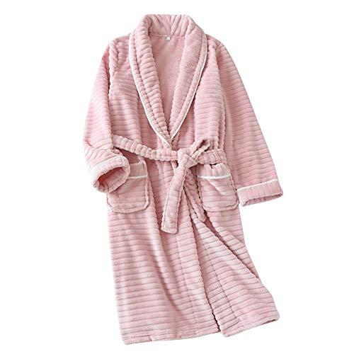 Lasher バスローブ パジャマ 前開き もこもこガウン 湯上り 部屋着 暖かい ルームウェア 羽織り フランネル ナイトウェア おしゃれ ポケット付きき ピンク L