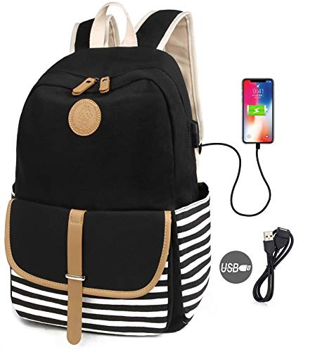 SCIONE School Backpacks for Women Teen Girls with USB Charging Port and Backpack Rain Cover Lightweight Canvas Stripe Backpack Cute Teen Bookpack