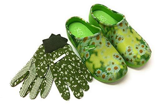 Trachten-Dirndl-More Damen Clogs & Pantoletten mit Gartenhandschuhen geblümt (Gelb, Numeric_38)