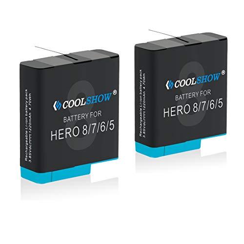 COOLSHOW Akku 2 Stück 1220mAh Ersatzakku für GoPro Hero 8,Hero 7, Hero 6, Hero 5, Hero 8 Black,Hero 7 Black, Hero 6 Black, Hero 5 Black,Hero 2018