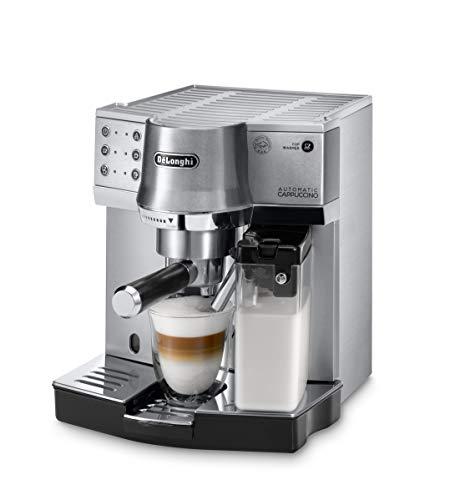 De'Longhi EC 860.M Espresso-Siebträgermaschine, Espressomaschine mit Milchystem für cremigen Cappuccino und Latte Machiato auf Knopfdruck, 1 Liter Wassertank, Vollmetallgehäuse, silber