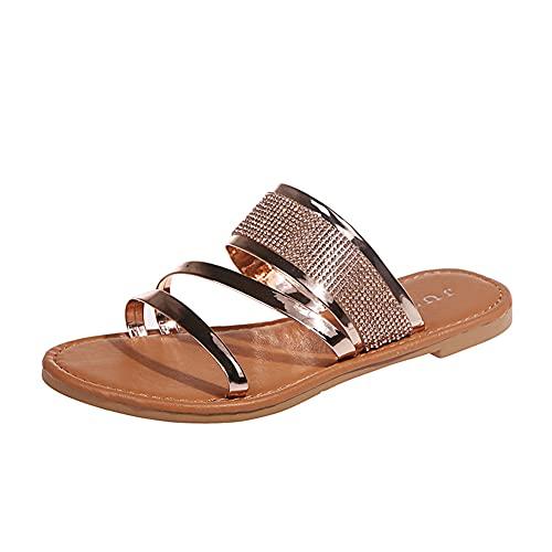 ERLINGO Sandalias planas para mujer, de tacón bajo, para fiestas, bodas, zapatos...