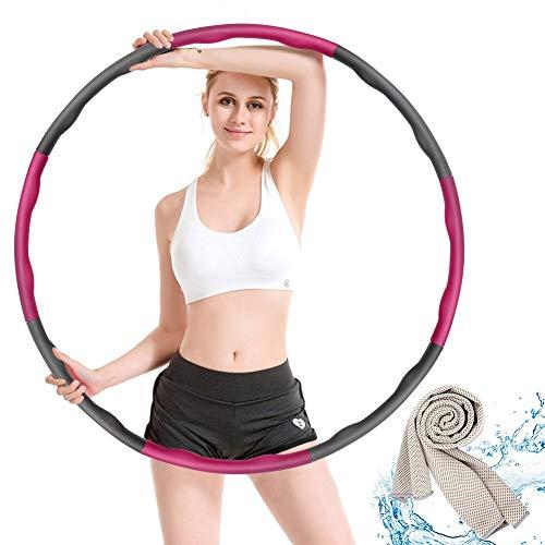 Hoola Hoop,Einstellbar Breit 48–88 cm beschwerter Hoola-Hoop-Reifen für Fitness Erwachsene und Kinder mit EIN Geschenk Kühlhandtuch 30 * 90cm
