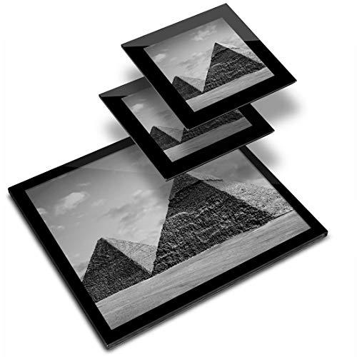 Destination 42944 - Mantel individual de vinilo (20 x 25 cm, 2 posavasos de 10 x 10 cm), diseño de pirámides de El Cairo Egipto, diseño de pirámide