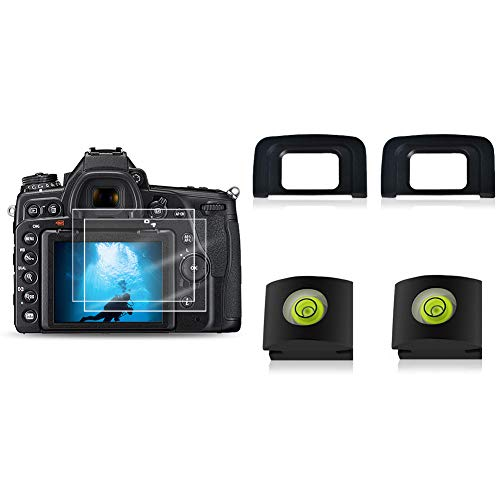 RENYD Tempered Glass Screen Protector and Viewfinder Eyepiece Eyecup and Hot Shoe Cover with Bubble Level Replacement for Nikon d3500 d3400 d3300 d3200 d3100 Protective Waterproof Crystal Clear