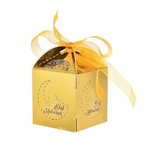 50 Stück Mubarak Candy Box Papierboxen Islamische Ramadan-Dekorationen, Muslimische Partyartikel Für Ihr Gartenthema,...