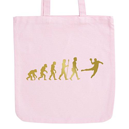 JUNIWORDS Jutebeutel in hellen Pastellfarben - Evolution Handball - Tasche: Pastellrosa - Schrift: Gold