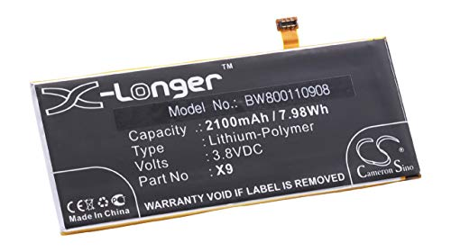 vhbw batería Compatible con Cubot X9 Smartphone (2100mAh, 3,8V, polímero de Litio)