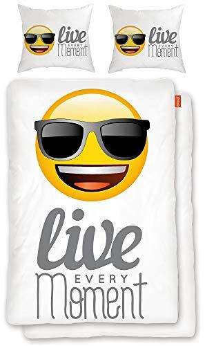 BERONAGE Original Emoji Wende-Bettwäsche Live Every Moment 135 x 200 cm + 80 x 80 cm - 100% Baumwolle Linon/Renforcé Bettbezug Bettzeug Emojis Lifestyle Cool deutsche Größe EM 083