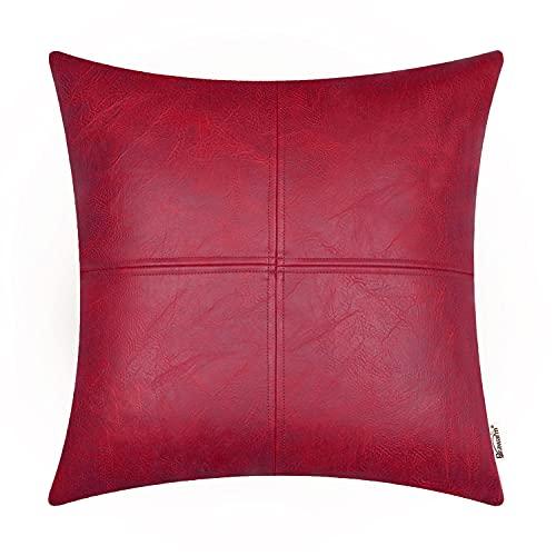Brawarm Fundas de almohada de piel sintética de 45,7 x 45,7 cm, fundas de almohada rojas, almohadas decorativas para sala de estar, sofá, jardín, cama, decoración