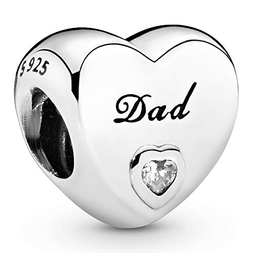 Pandora Jewelry Dads Love Cubic Zirconia Charm in Sterling Silver
