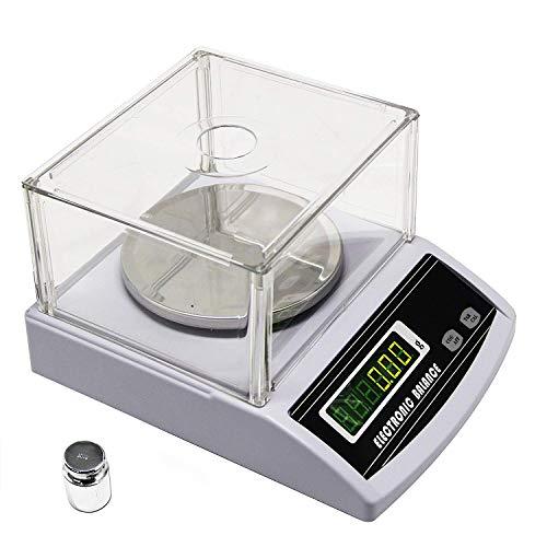CGOLDENWALL Balanza Analítica de Laboratorio de Alta Precisión de 0.01g Báscula Electrónica Digital Inteligente Industrial Balanza de Lab con Parabrisas & Función de Conteo (1000g, 0.01g)