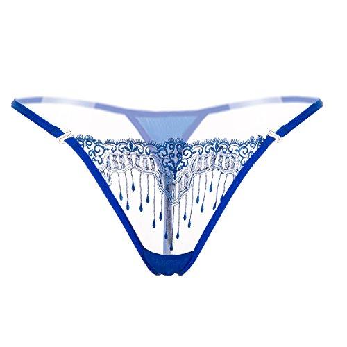Z&MDH Femmes Sexy Culottes,String en Dentelle Transparente pour Dames, Culotte Sexy Brodée Creuse et T-Pantalon-Bleu_M