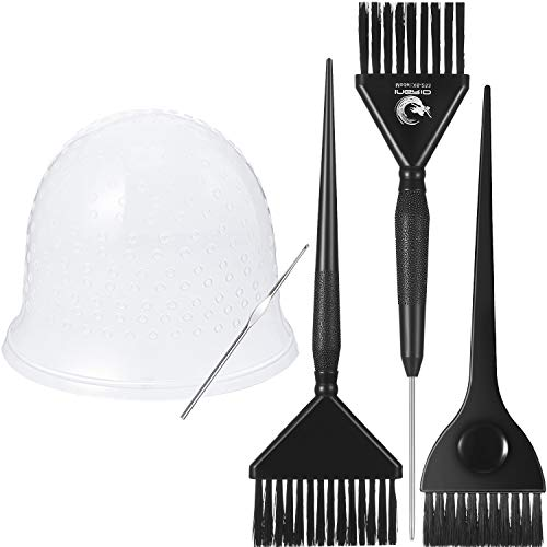 5 Pieces Hair Coloring Dyeing Kit Includes Silicone Highlight Cap with...