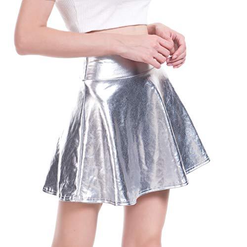 QinMMROPA Minifalda Brillante Metalizada para Mujer Falda Plisada Acampanada Tutu Falda Animadora