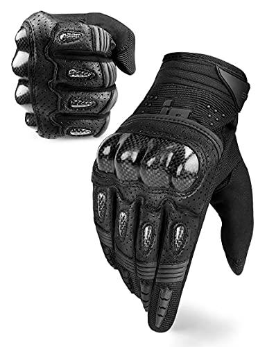 INBIKE Motorrad Handschuhe Herren Damen Motorradhandschuhe Atmungsaktivität Strapazierfähig Hartschalen-Schutz für Motorrad Radfahren Camping Outdoor(Schwarz&Grau,L) IM803