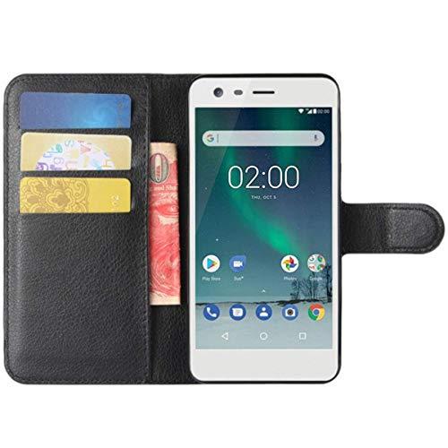 HualuBro Nokia Lumia 730 735 Hülle, Premium PU Leder Leather Wallet HandyHülle Tasche Schutzhülle Flip Hülle Cover für Nokia Lumia 730 735 Smartphone (Schwarz)