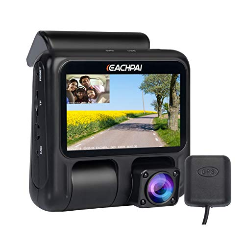 EACHPAI Dual Dash Cam X100 1080p+1080p Dash Cameras Front and Inside, 3'' Dashboard Camera with GPS,IR Night Vision, WDR,Motion Detector,Loop Recording for Uber / Lyft / Truck / Taxi Free 32GB Card