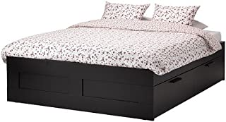 IKEA Queen Size Bed Frame with Storage, Black 30382.22026.42