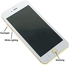 Size: like phone 6 6s size. But didn't open, just a shocking toy. Not suitable for children under 14 years of age, please use the item responsibly Just Three Function: Red Light, White Lighting and Shocking including:1 pc Fake Shocking Phone like iph...