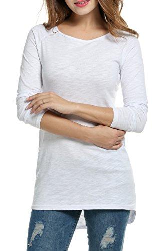 Meaneor Damen Langarm Shirt Basics Shirt Longshirt Tunika Bluse T-Shirt Baumwolle Oberteil Asymmetrisch, Weiß, EU 36(Herstellergröße: S)