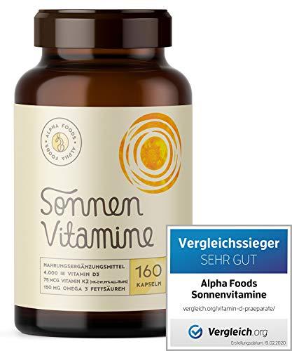 4.000 Vitamin D3, K2 (vitaMK-7, 99,99% All-Trans) und pflanzliche Omega 3 Fettsäuren aus Leinsamen und Algen | SONNENVITAMINE | Ohne Zusatzstoffe, ohne Hilfsstoffe | 160 V-Caps