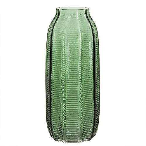 Eideo Home Jarron Florero Decorativo para Flores Moderno Alto Cristal Verde 29 cm
