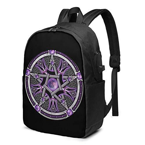 Lawenp Purple Wicca Wiccan Star Pentagram Pentacle USB Backpack 17 Inch Laptop Backpack Business Travel College School Backpack