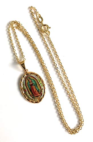 Virgen de Guadalupe Charm Necklace 18K Gold Plated 17.5 Inches
