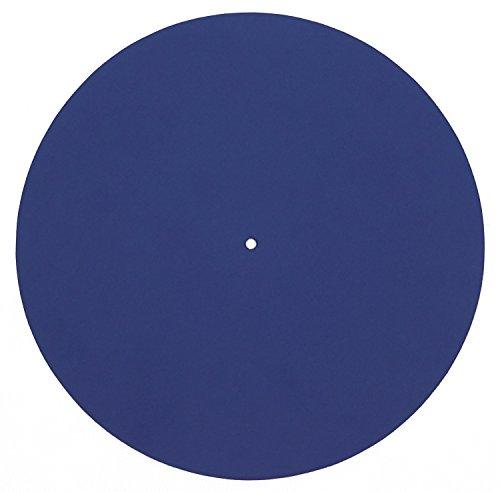 Echtleder Plattenmatte als Plattentellerauflage, blau, glatt, Turntable Slipmat, von FREIRAUM®-Trend