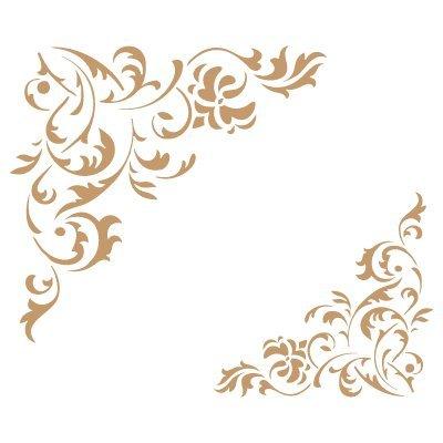 TODO-STENCIL sjabloon - decoraties 034 bloemen hoekmotief sjabloon grootte: ca. 20 x 20 cm. Designafmetingen: 11,6 x 10,9 cm.